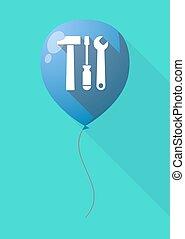 outillage, ensemble, ombre, long, balloon