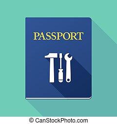 outillage, ensemble, ombre, passeport, long