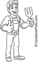 outillage, jardin, bricoleur, fourchette, homme, dessin animé, jardinier