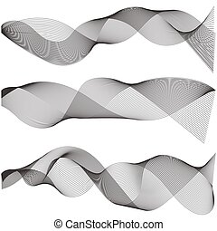 outillage, piste, résumé, ondulé, utilisation, ligne, vagues, contour, conception, vecteur, son, forme onde, doux, multiple, graphique, mélange, raies, éléments, art, créatif, créé