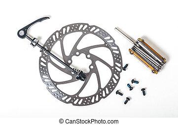 outillage, réparation, frein, disque, excentrique, gros plan, crochet roue, vélo