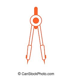 outillage, style, ligne, couleur, icône, compas, education, géométrique, maison