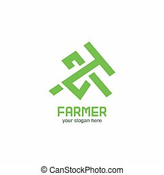 outillage, symbolique, vecteur, logo, paysan