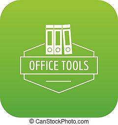outillage, vecteur, vert, bureau, icône