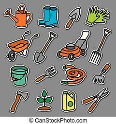 outils, autocollants, jardin