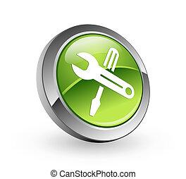 outils, bouton, -, sphère verte