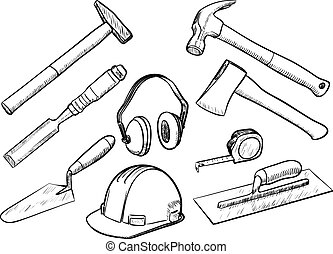 outils, collection, main