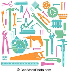 outils, coloré, icônes