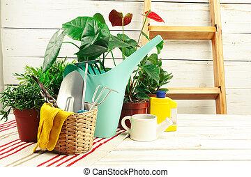 outils, composition, jardin