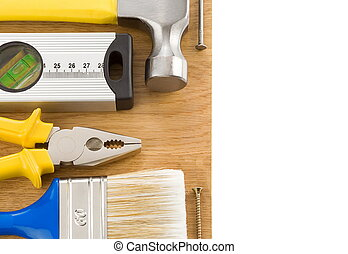 outils, construction, isolé, blanc