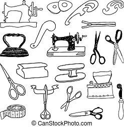outils coupe, ensemble, couture