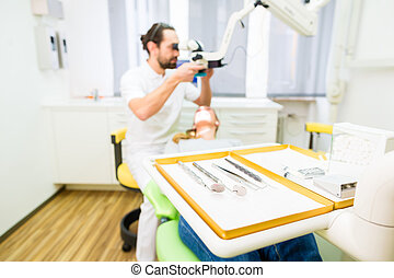outils, dentiste, pratique, stérile