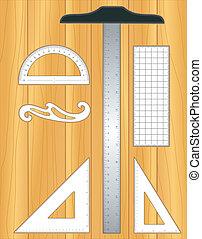 outils dessin, bois, rédaction, planche