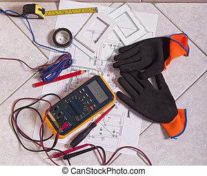 outils, différent, électrique, plancher