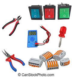 outils, ensemble, électricien, professionnel
