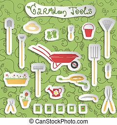 outils, ensemble, autocollants, jardin