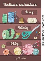 outils, ensemble, couture, fancywork, matériels