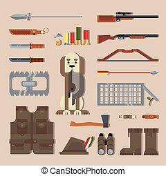 outils, ensemble, equipement chassant