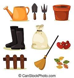 outils, ensemble, jardinage, illustrateur