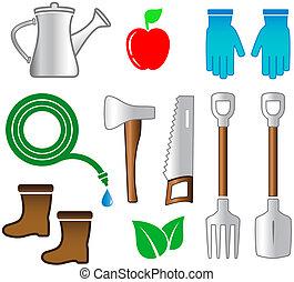 outils, ensemble, jardinage, isolé