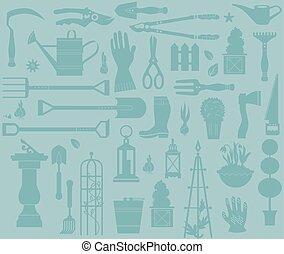 outils, ensemble, jardinage