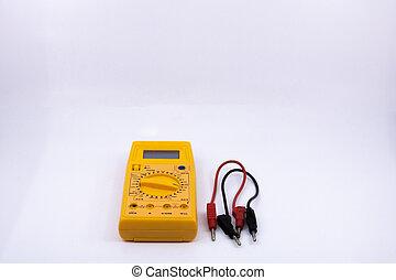 outils, graphique, ressource, électrique, testeur, électricité, electromechanic, ou, vente, isolé, électricien, bricolage, fond, blanc, outillage