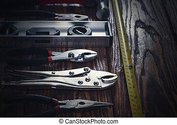 outils, haut, arrière-plan., fin, bois