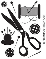 outils, icônes, couture