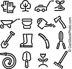 outils, icônes, jardin