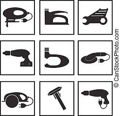 outils, illustration., icônes, ensemble, isolé, silhouette., arrière-plan., vecteur, noir, mécanicien, logo, blanc, élément, outils
