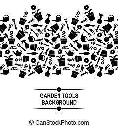 outils, jardin, fond