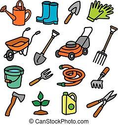 outils, jardin, icônes