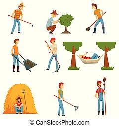 outils, jardinage, agriculteurs, ensemble, ouvriers, travail, ferme, vecteur, fond, jardiniers, blanc, illustrations