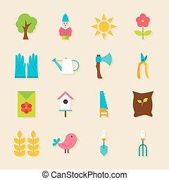 outils jardinage, ensemble, objets, ombre, plat