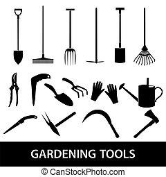 outils jardinage, eps10, icônes