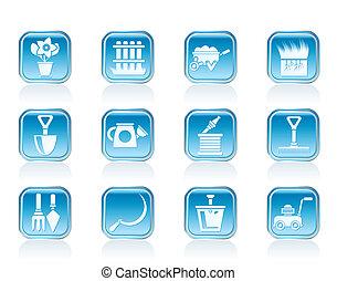 outils jardinage, jardin, icônes