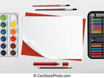 outils, lieu travail, dessin