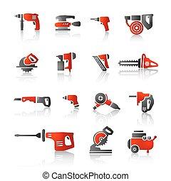 outils, noir, icône, rouges, puissance