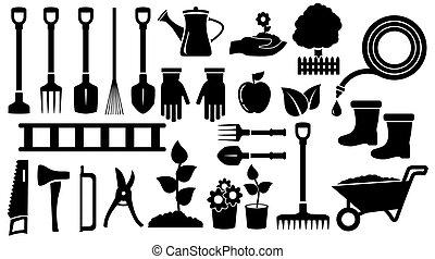 outils, noir, jardin, ensemble