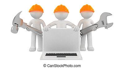 outils, ordinateur portable, constructeurs