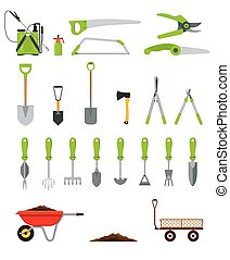 outils, ou, divers, main, collection, planter, jardinage, pruning., désherber, grand, ratisser, équipement