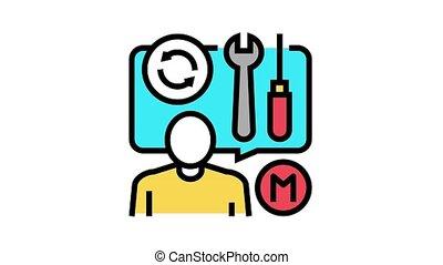 outils, parler, maître, icône, animation, réparateur, couleur, sur