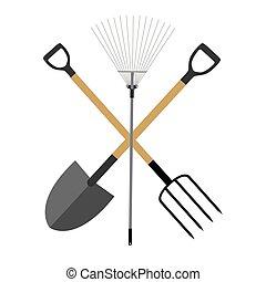 outils, pelle, jardin, plat, instruments, set., râteau, collection, fourche, vecteur, illustration, icône