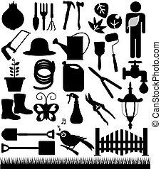 outils, piques, pelles, jardin
