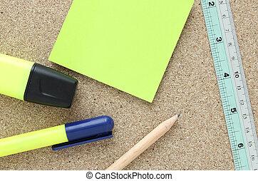 outils, planche, bureau, bouchon