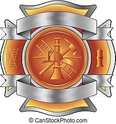 outils, pompier, croix, gravé