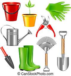 outils, réaliste, jardinage, ensemble