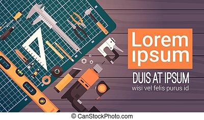 outils, réparation, ensemble, fonctionnement, espace, sur, ...