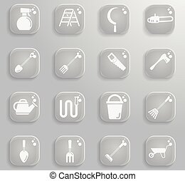 outils, simplement, jardin, icônes