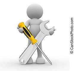 outils, tournevis, clé